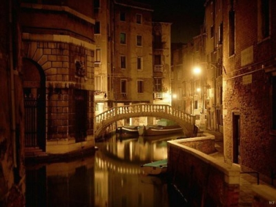Late night canal, Venice
