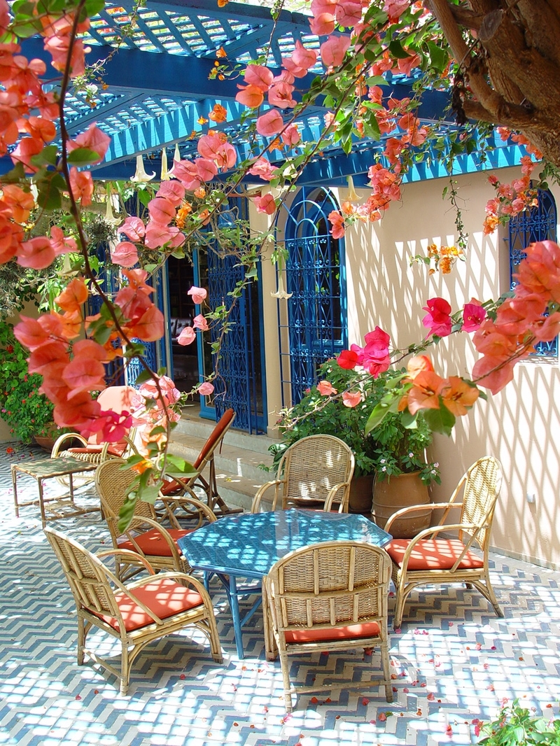 Blue patio mykonos greece photo on sunsurfer - Flowers native to greece a sea of color ...