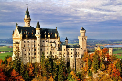 Castle Neuschwanstein in Bavaria, Germany in autumn