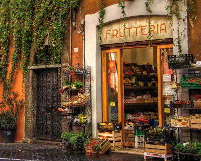 Fruit store in Rome, Italy