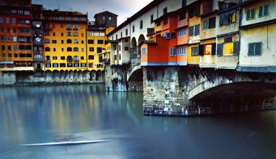 Kayaking Under Ponte Vecchio, Florence, Italy