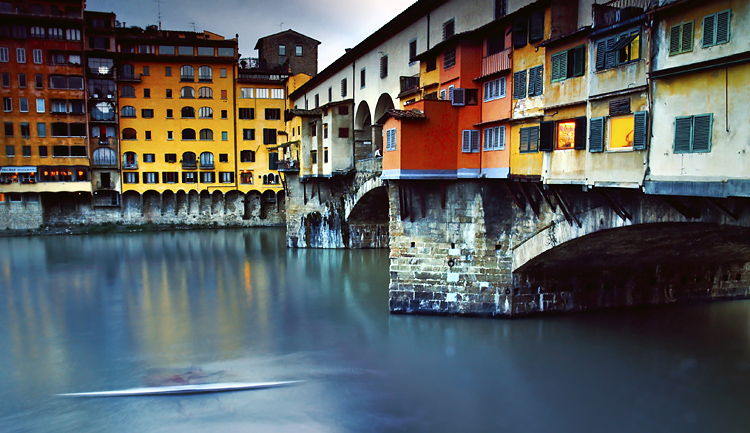 Kayaking Under Ponte Vecchio, Florence, Italy