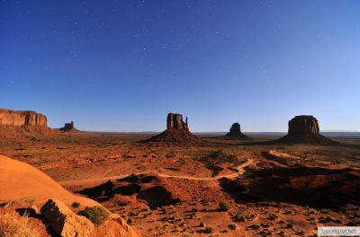 Monument Valley in Moonlight, Utah, USA