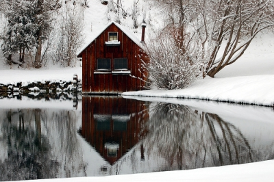 Secluded cabin in winter
