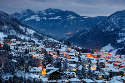 Winter evening in Serina, Lombardy, Italy