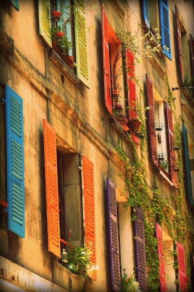 Beautiful shutters in Genoa, Italy