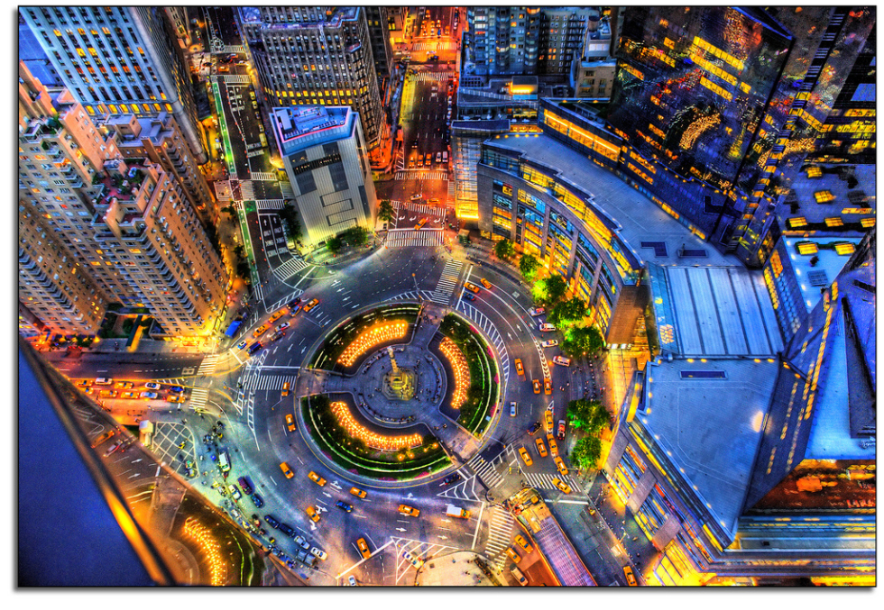 Birdseye view of Columbus Circle, New York City