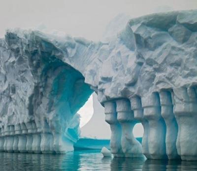Columned Glacial Iceberg Bridge, Antarctica