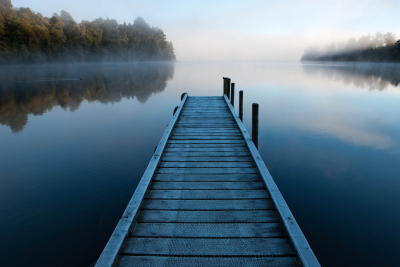 Dawn Mist, Lake Mapourika, New Zealand