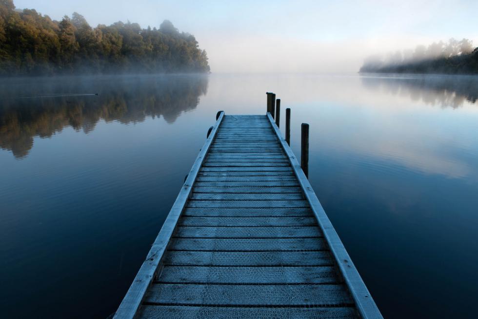 Dawn Mist, Lake Mapourika, New Zealand