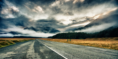 Eglinton Valley road in Fiordland National Park, Southland, New Zealand