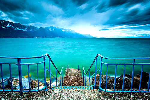 Lake Leman, Switzerland in winter