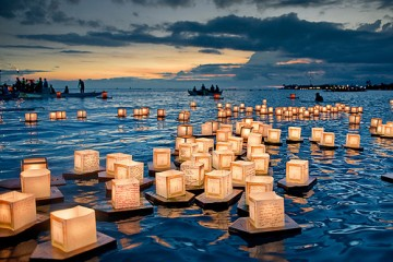 Floating Lanterns Launched at Sunset