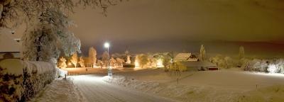 Countryside winter night