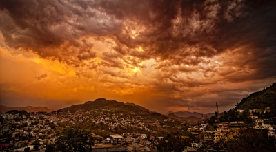 Sunset over Solan, Himachal Pradesh, India