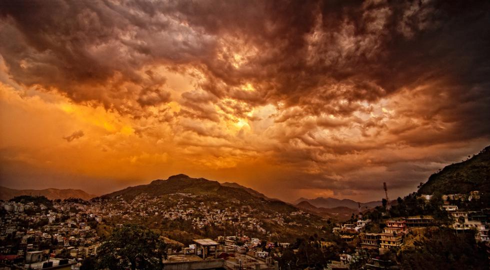 Sunset over Solan, Himachal Pradesh, India