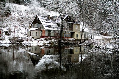 Winter house near the Green Lakes, Vilnius, Lithuania