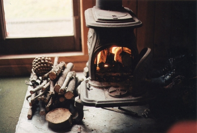 Winter retreat fireplace