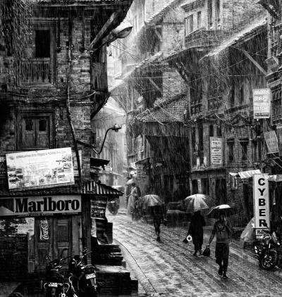 A torrential monsoon rain in Bhaktapur, Nepal