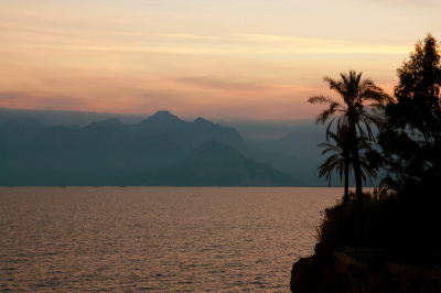 Mount Taurus at the Antalya Bay, Turkey