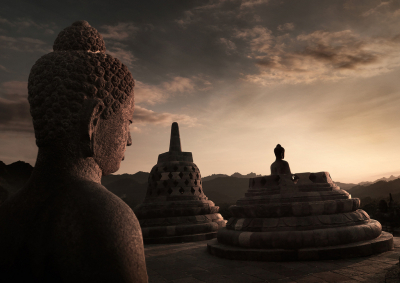 Buddha statue, Borobudur temple, Java, Indonesia