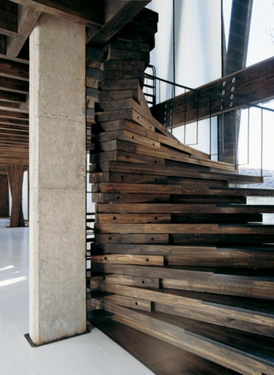 Modern wooden stairs