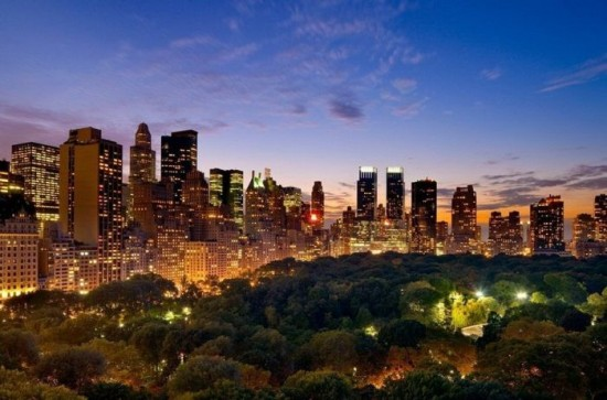 New York City at dusk