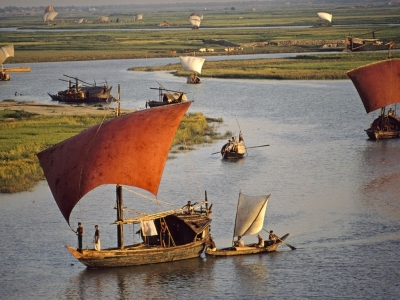 Sailboats, Turag River, Bangladesh