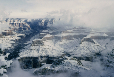 Snow over the Grand Canyon, Arizona, USA