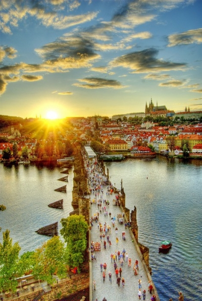 Sunset, Walking Bridge, Prague, Czech Republic