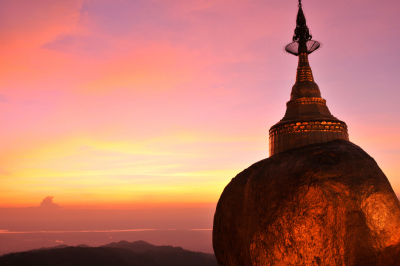 Sunset at Kyaiktiyo Pagoda (Golden Rock), Myanmar