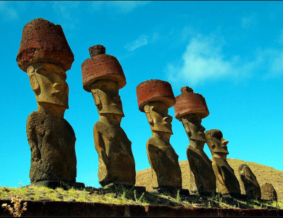 The Moais of the Ahu Nau Nau, Anakena Beach, Easter Island