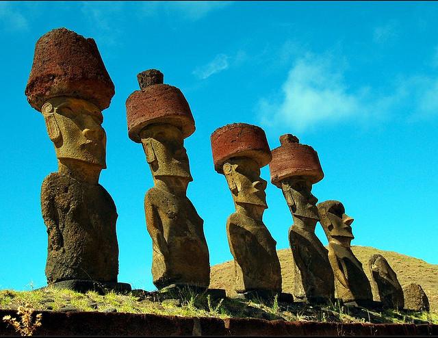 The Moais of the Ahu Nau Nau, Anakena Beach, Easter Island