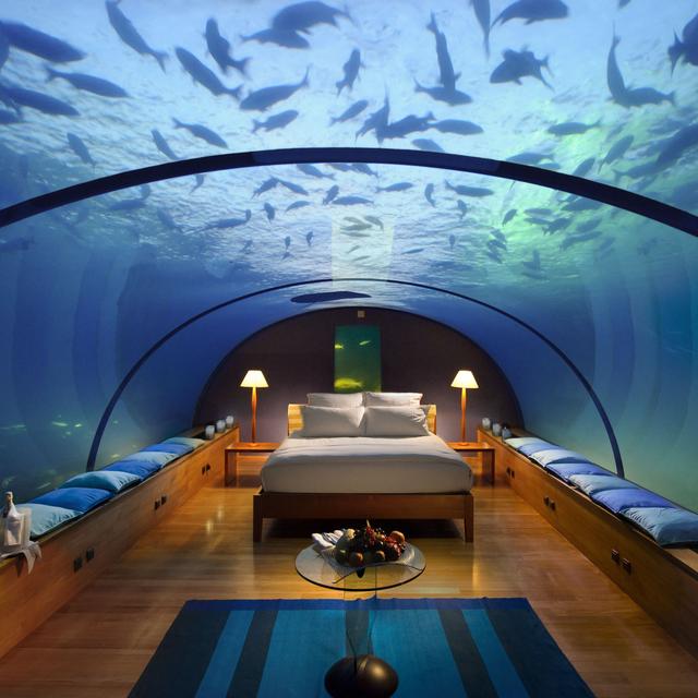 Underwater Bedroom, Conrad Maldives Rangali Island Hotel