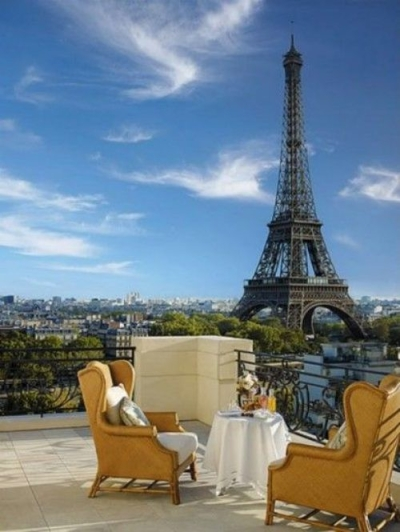 Rooftop terrace, Paris, France
