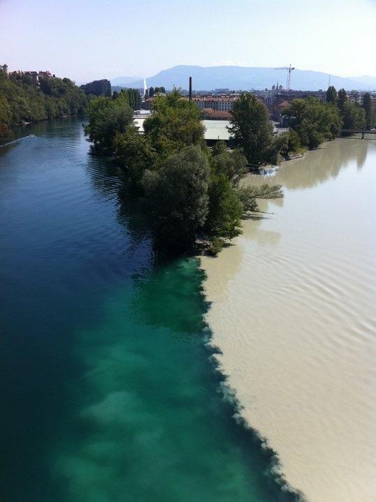 Junction of two rivers, Geneva, Switzerland