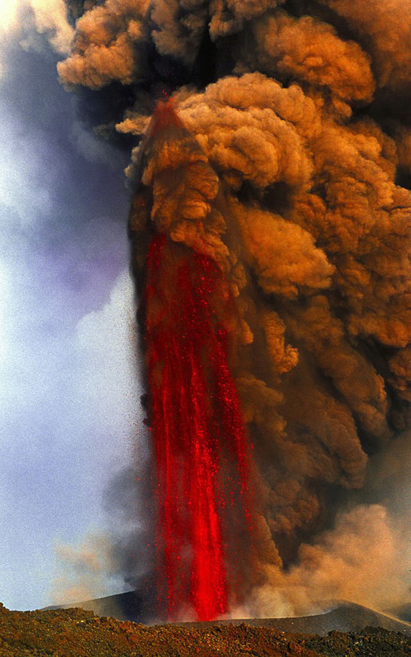 Lava fountain of Mount Etna volcano, Italy