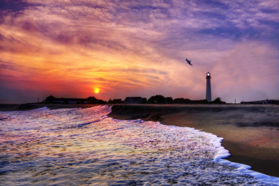 Cape May Lighthouse Sunset, Jersey Shore, USA