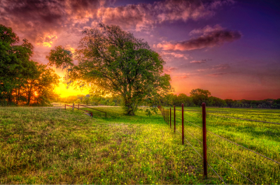 Pearl Ranch at sunset, Wheatland, Texas