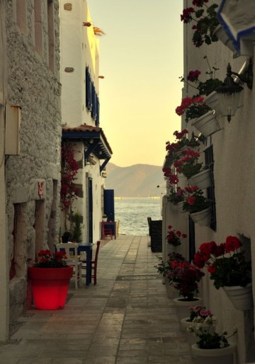 Walkway to the Sea, Santorini, Greece