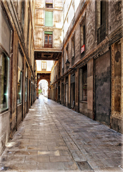 Alley in Barcelona, Spain