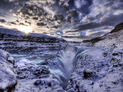 Gullfoss frozen waterfall, Iceland