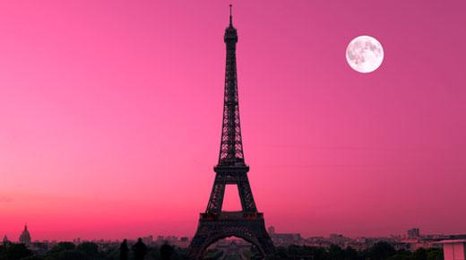 Pink moonrise at Eiffel Tower, Paris