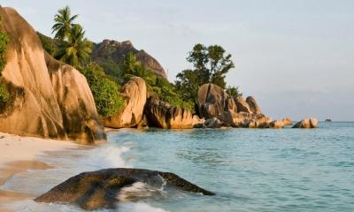 Sandy Shores of La Digue Island, Seychelles