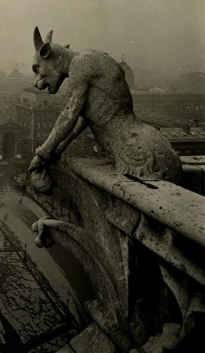 1910 photo of the Grotesque at Notre Dame, France
