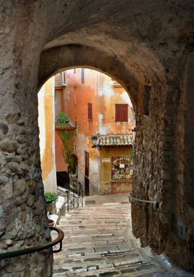 Stone stairs in the old french village of Roquebrune Cap Martin, Alpes-Maritimes, France
