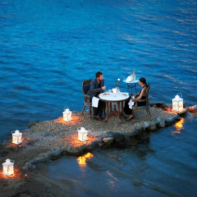 Private dining at Kivotos Club Hotel, Mykonos, Greece