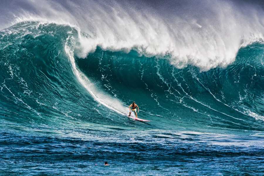 Surfing in Waimea, Hawaii