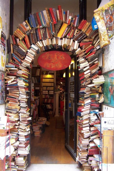 Entrance of a bookstore in Lyon, France