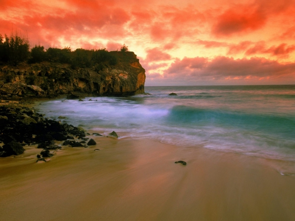 Sunset at Shipwrecks Beach, Poipu, Kauai, Hawaii